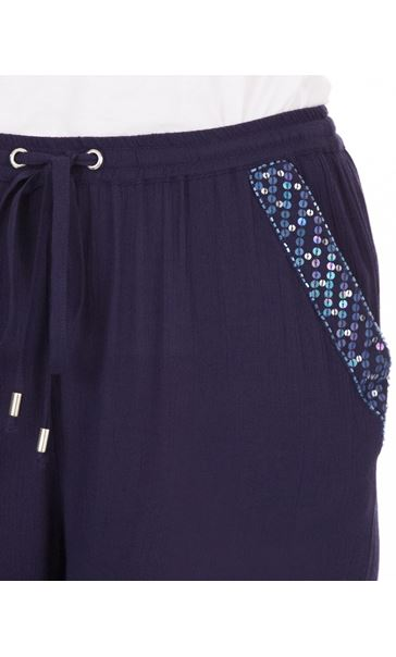 Anna Rose Embellished Wide leg Trousers Navy - Gallery Image 4