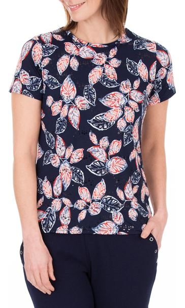 Anna Rose Textured Leaf Print Top Navy/Red/White - Gallery Image 2