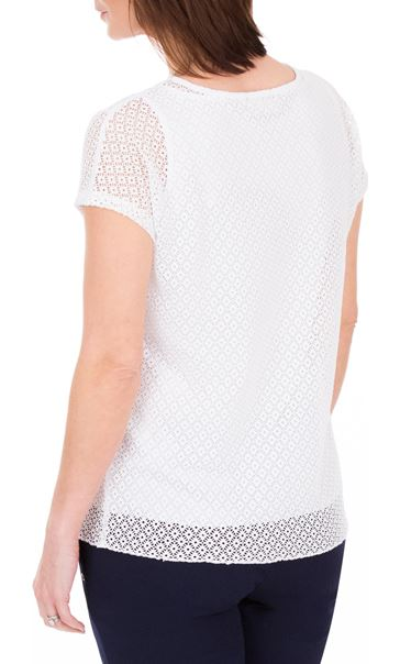 Anna Rose Short Sleeve Lace Top White - Gallery Image 2