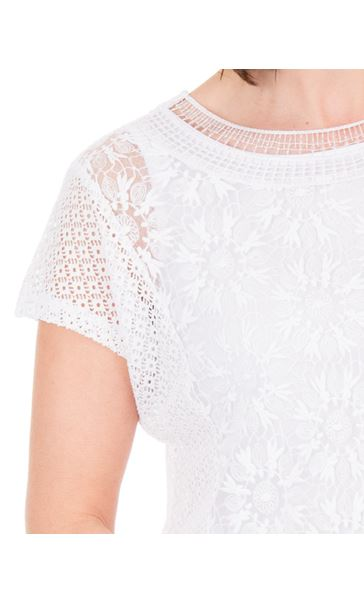 Anna Rose Short Sleeve Lace Top White - Gallery Image 3