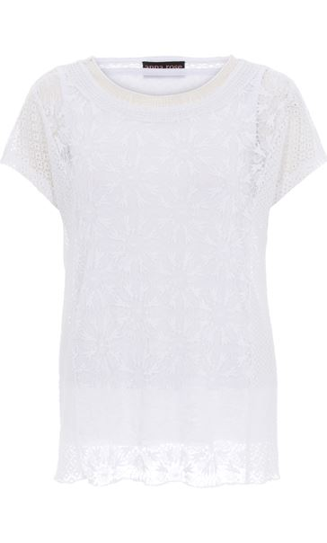Anna Rose Short Sleeve Lace Top White - Gallery Image 4