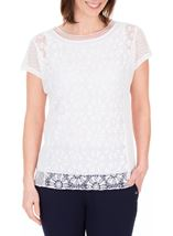 Anna Rose Short Sleeve Lace Top White - Gallery Image 1