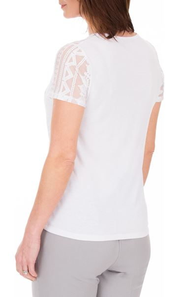 Anna Rose Lace Panel Print Top White - Gallery Image 3