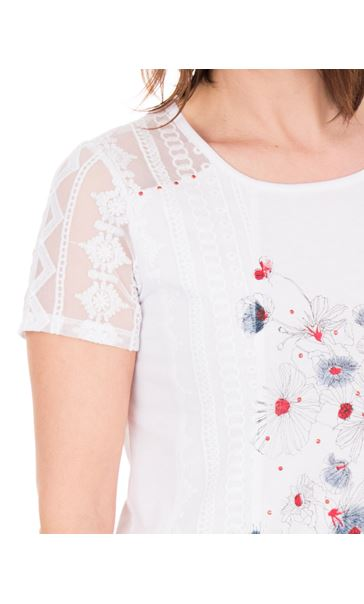 Anna Rose Lace Panel Print Top White - Gallery Image 4