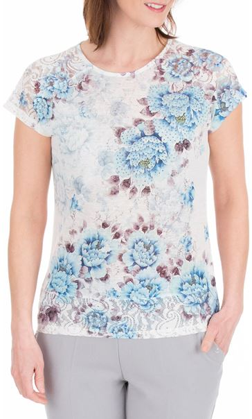 Anna Rose Lace Trim Short Sleeve Top White/Blue