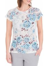 Anna Rose Lace Trim Short Sleeve Top White/Blue - Gallery Image 1