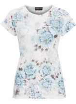 Anna Rose Lace Trim Short Sleeve Top White/Blue - Gallery Image 4