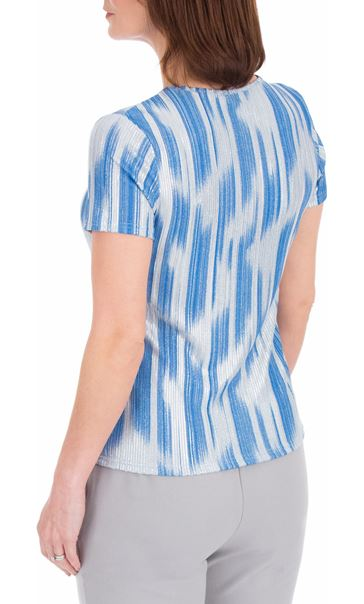 Anna Rose Metallic Stripe Short Sleeve Top Mid Blue - Gallery Image 2