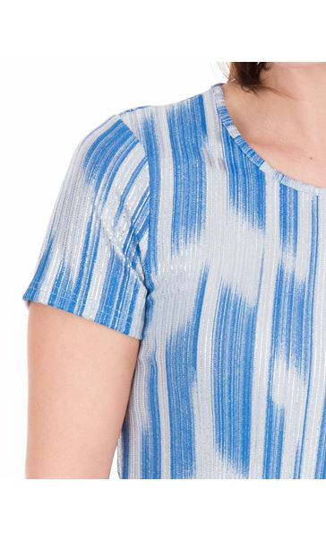Anna Rose Metallic Stripe Short Sleeve Top Mid Blue - Gallery Image 3