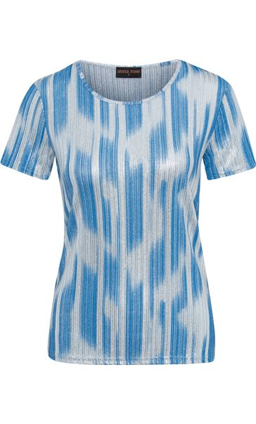Anna Rose Metallic Stripe Short Sleeve Top Mid Blue - Gallery Image 4