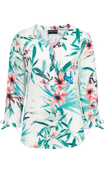 Anna Rose Tie Cuff Print Top White/Red - Gallery Image 4