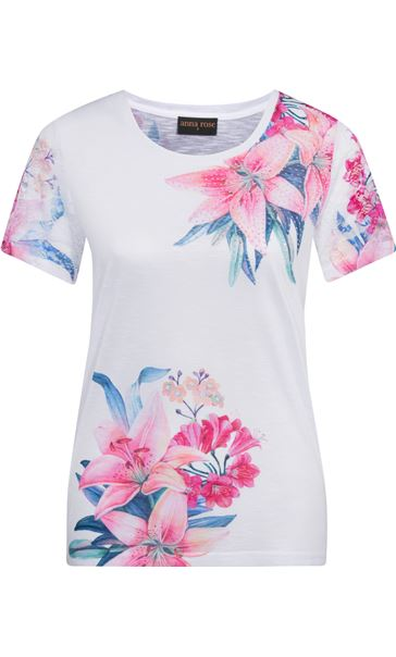 Anna Rose Lace Sleeve Print Top Ivory/Hot Pink