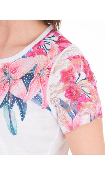 Anna Rose Lace Sleeve Print Top Ivory/Hot Pink - Gallery Image 4