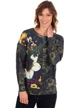 Long Sleeve Floral Knitted Top