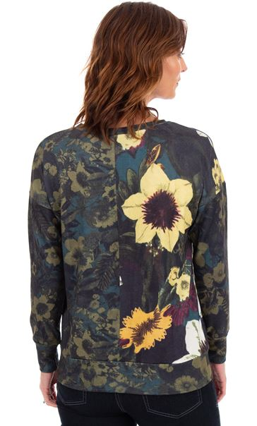 Long Sleeve Floral Knitted Top Greens - Gallery Image 2