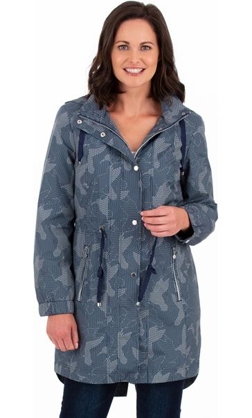 Printed Lightweight Coat Navy - Gallery Image 1
