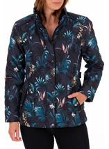 Anna Rose Floral Print Quilt Coat Blue Palm - Gallery Image 1