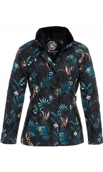Anna Rose Floral Print Quilt Coat Blue Palm - Gallery Image 3