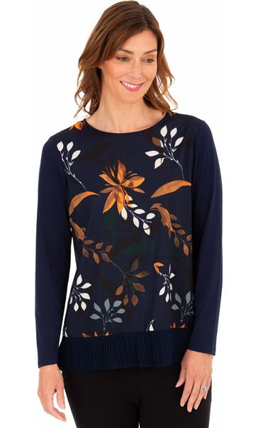 Print Front Long Sleeve Top Midnight