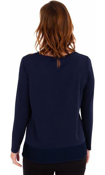Print Front Long Sleeve Top Midnight - Gallery Image 2