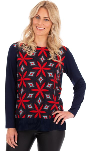 Printed Long Sleeve Pleat Hem Top Scarlet/Navy