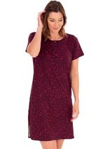 Animal Printed Short Sleeve Nightie Black/Berry/Coral - Gallery Image 1