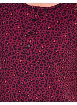 Animal Printed Short Sleeve Nightie Black/Berry/Coral - Gallery Image 3