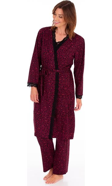 Animal Printed Dressing Gown Black/Berry/Coral