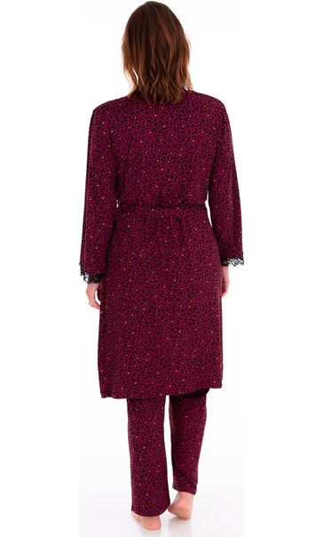 Animal Printed Dressing Gown Black/Berry/Coral - Gallery Image 2