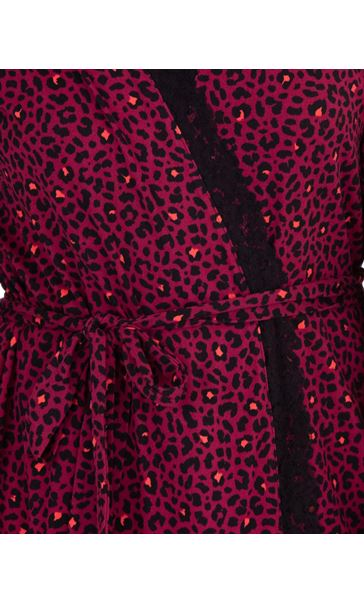 Animal Printed Dressing Gown Black/Berry/Coral - Gallery Image 3