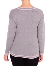 Anna Rose Metallic Knit Top Grey/Dusty Pink - Gallery Image 2