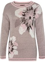 Anna Rose Metallic Knit Top Grey/Dusty Pink - Gallery Image 3
