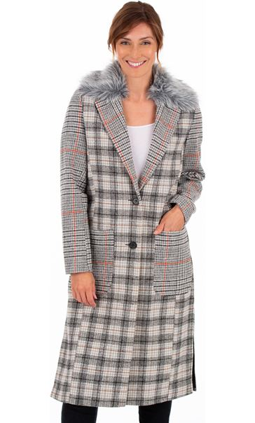Checked Button Coat Grey/Natural
