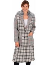 Checked Button Coat Grey/Natural - Gallery Image 1