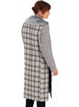 Checked Button Coat Grey/Natural - Gallery Image 2