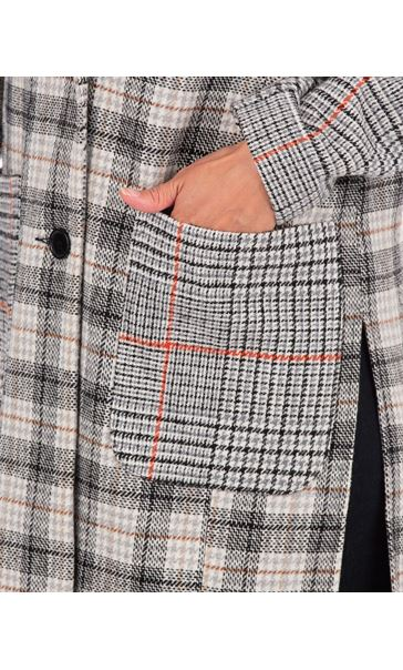 Checked Button Coat Grey/Natural - Gallery Image 3