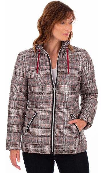 Checked Puffa Coat Black/White/Red