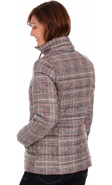 Checked Puffa Coat Black/White/Red - Gallery Image 2
