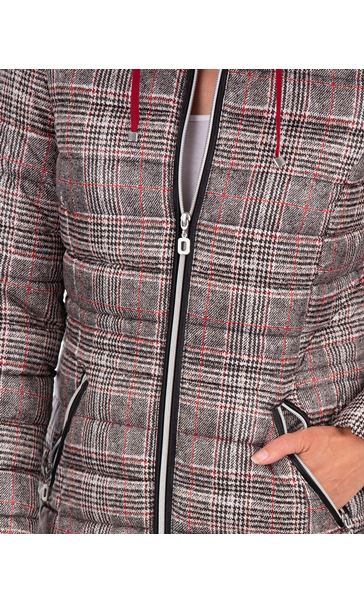 Checked Puffa Coat Black/White/Red - Gallery Image 3