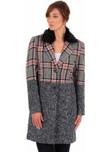 Faux Fur Trim Check Coat Black/White/Red - Gallery Image 1