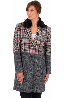 Faux Fur Trim Check Coat
