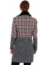 Faux Fur Trim Check Coat Black/White/Red - Gallery Image 2