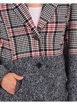 Faux Fur Trim Check Coat Black/White/Red - Gallery Image 3