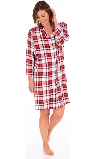 Checked Long Sleeve Nightshirt Berry/Coral