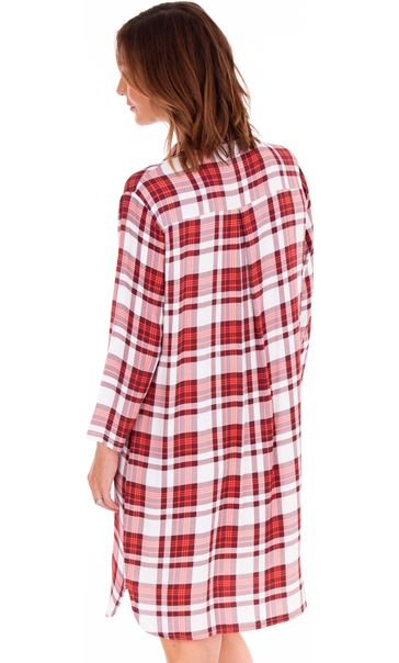 Checked Long Sleeve Nightshirt Berry/Coral - Gallery Image 2
