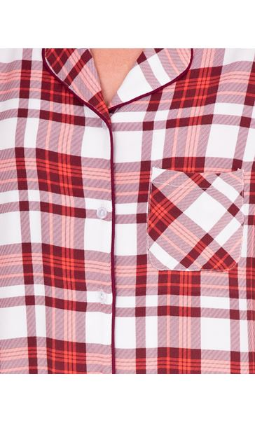 Checked Long Sleeve Nightshirt Berry/Coral - Gallery Image 3