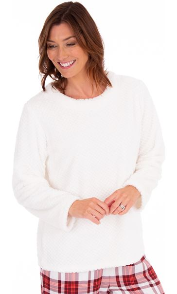 Textured Fleece Lounge Top Winter White