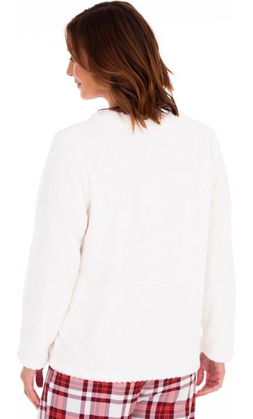 Textured Fleece Lounge Top Winter White - Gallery Image 2