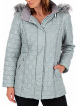 Anna Rose Quilted Faux Fur Trimmed Coat Green - Gallery Image 1
