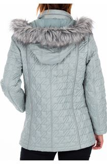 Anna Rose Quilted Faux Fur Trimmed Coat - Green